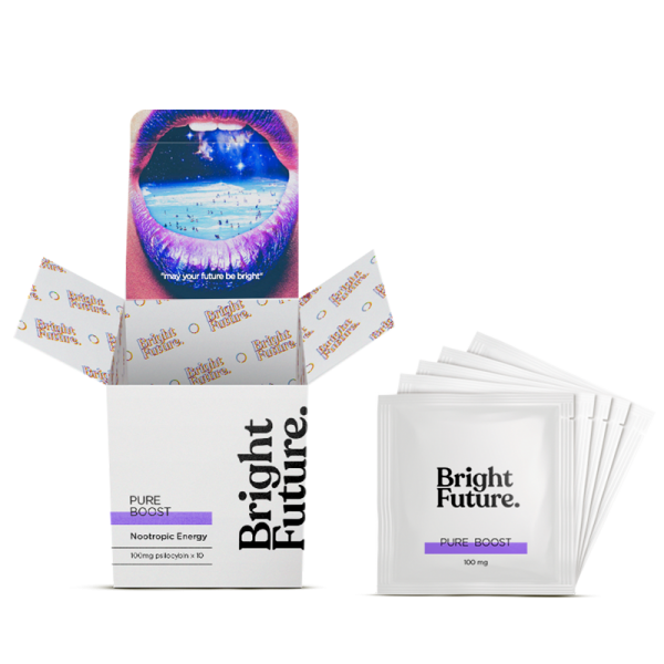 Pure boost mushroom tea bright future box and tea bags